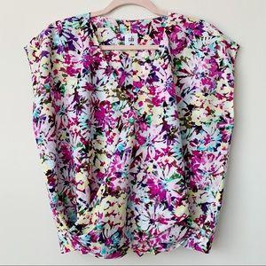 CAbi #5211 Eden Floral Faux Wrap Blouse Size Med